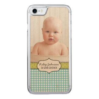 lembrança do nome e do aniversário da foto do bebé capa iPhone 7 carved