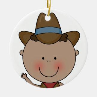 Lembrança ocidental de sorriso doce do vaqueiro do ornamento de cerâmica redondo