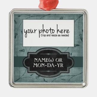Lembrança personalizada floral azul da foto ornamentos para arvore de natal