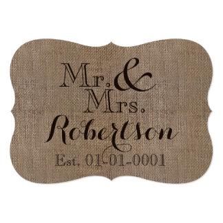 Lembrança rústica personalizada do casamento do convite