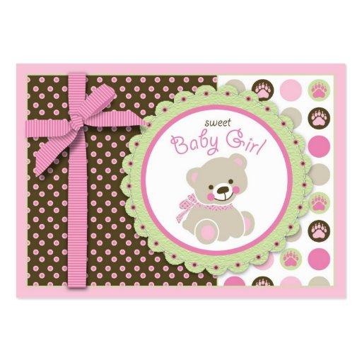 Lembrete bem-vindo Notecard da menina do urso Modelo Cartoes De Visitas