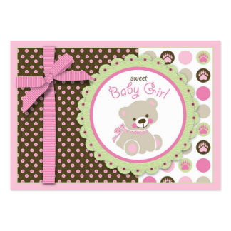 Lembrete bem-vindo Notecard da menina do urso Cartão De Visita Grande