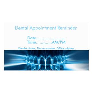 Lembrete da nomeação do dentista cartão de visita