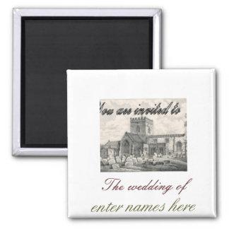 Lembrete do casamento ímã quadrado