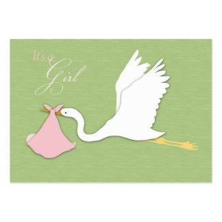 Lembrete Notecard da menina da entrega da cegonha Modelo Cartões De Visita