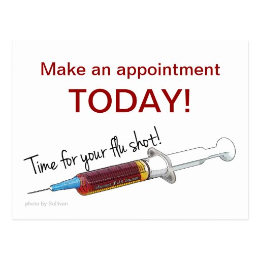 Lembrete para programar uma vacina contra a gripe cartões postais