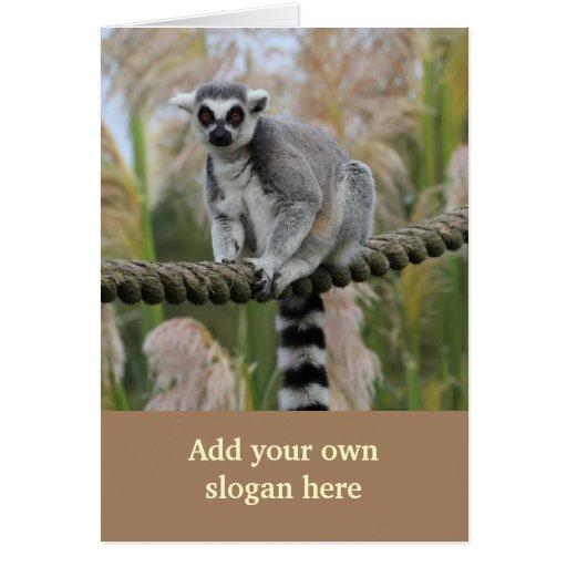 Lemur na foto da corda para personalizar-se cartao