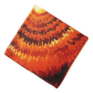 Lenço Abstrato expandindo a espiral amarela, alaranjada