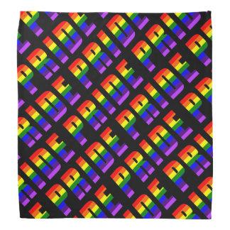 Lenço Arte do texto do orgulho do arco-íris na cor preta