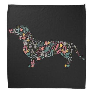 Lenço Arte floral da aguarela do teste padrão do cão do