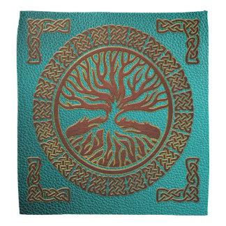 Lenço Árvore de vida - Yggdrasil - couro gravado do