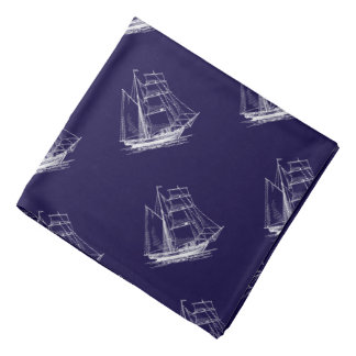 Lenço Bandanna náutico azul do barco do navio de