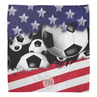 Lenço bolas de futebol e bandeira dos Estados Unidos com