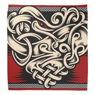 Lenço Branco preto vermelho do coração celta