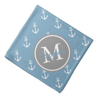 Lenço Carolina azul e monograma cinzento da âncora da