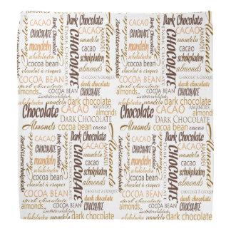 Lenço Chocolate, amêndoas e design de texto escuro do