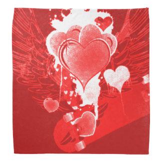 Lenço Corações vermelhos com asas
