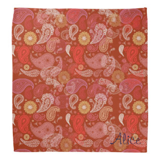 Lenço Damasco floral vermelho de paisley