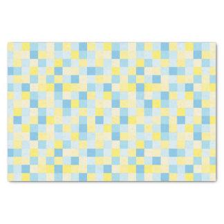 Lenço de papel azul e amarelo dos quadrados