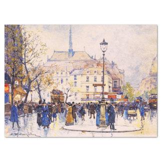 Lenço de papel da arte da cena da rua de Paris