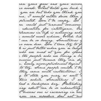 Lenço de papel da escrita do roteiro