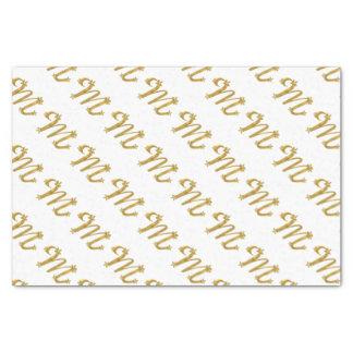 lenço de papel da letra M do ouro do monograma 3D