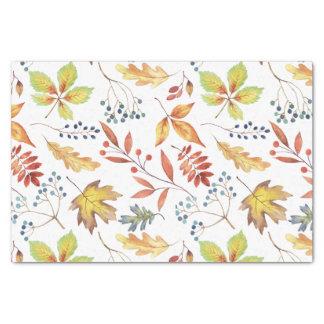 Lenço de papel das folhas de outono do verde da