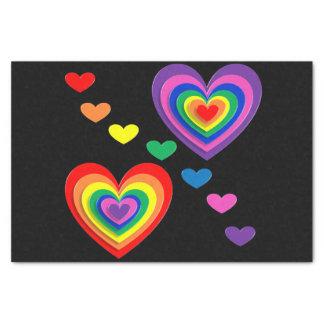 Lenço de papel dos corações do arco-íris