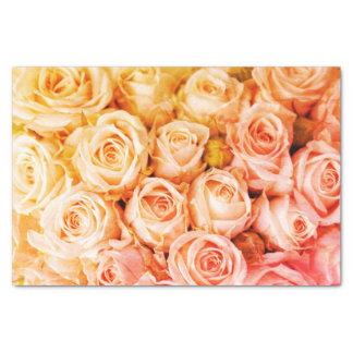 Lenço de papel dourado dos rosas do pêssego
