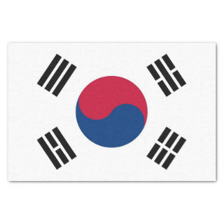 Lenço de papel patriótico com a bandeira de Coreia