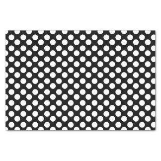 Lenço de papel preto e branco das bolinhas