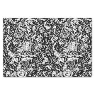 Lenço de papel preto e branco do jardim grotesco