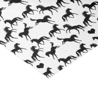 Lenço de papel preto pequeno dos cavalos