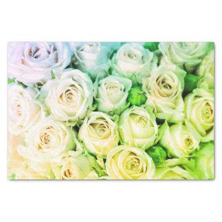 Lenço de papel verde & do marfim dos rosas