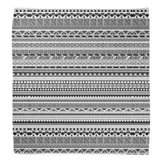 Lenço Design asteca branco preto bonito dos padrões