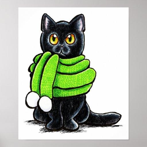 Lenço do inverno do gato preto pôsteres