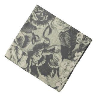 Lenço floral de Toile do vintage antigo branco