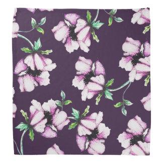 Lenço Flores roxas bonito da aguarela