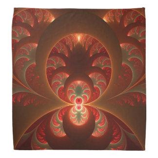 Lenço Fractal moderno abstrato luminoso do vermelho