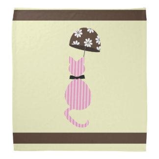 Lenço Gato bonito da listra com guarda-chuva