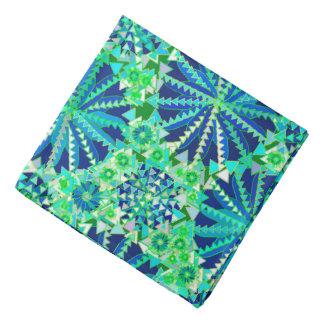 Lenço Impressão, azuis cobaltos e verde tribais da