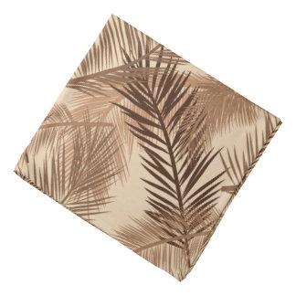 Lenço Impressão em folha de palmeira, Brown escuro, Tan