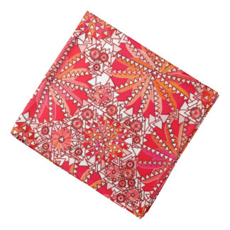 Lenço Impressão tribal da mandala, vermelho e branco
