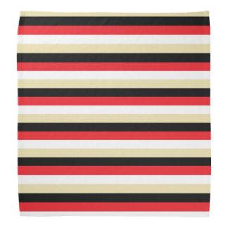 Lenço Listras vermelhas, brancas, bege e pretas