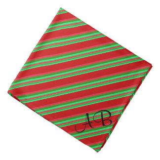 Lenço Listras vermelhas e verdes elegantes Monogrammed