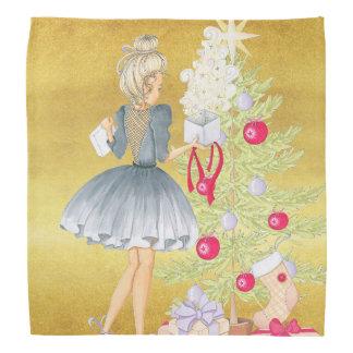 Lenço Mágica do Natal - louro que decora uma árvore