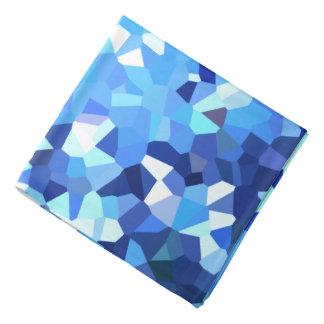 Lenço Mosaico azul e branco moderno do oceano do vitral
