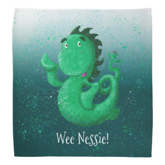 Lenço O Nessie pequenino personalizado acena olá!!