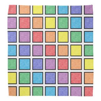Lenço Quadrados estáticos esboçados preto do arco-íris