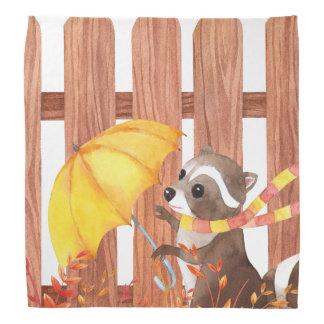 Lenço racoon com guarda-chuva que anda pela cerca